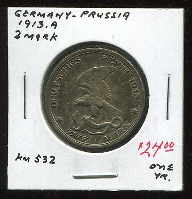 **  Germany - Prussia 1913.a (Year Type) 2 Mark  **