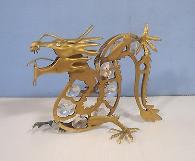 Vintage brass dragon with crystal hand crafted circa: mid Century