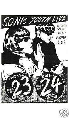 Sonic Youth & Early Nirvana at  Seattle Concert Poster  Large Format 24x36