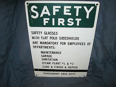Vintage Safety First Industrial Factory Porcelain Sign NEAT