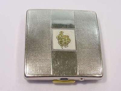 Vintage Yardley London Flower Sellers Top Silver / Gold Powder Compact Book Ref