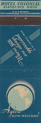 Vintage Hotel Matchbook Cover. Hotel Colonial. Cleveland, Oh.