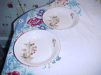 """9"""" serving Bowls-Tia Juana Pattern-Edwin Knowles China Co. Made in USA set/2"""