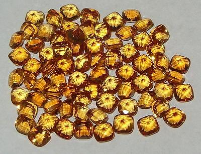 4mm Beautiful Color Brazil Gold Citrine Chess Cut Square Cushion