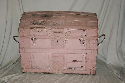 Antique Shabby Arched Lid Wood & Metal Steamer Trunk Chest Rustic Decor Restore