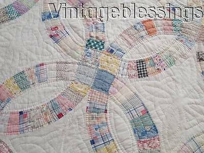 """Cottage Home! VINTAGE 30s Feedsack Wedding Ring QUILT 86"""" x 75"""""""