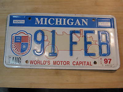 1997 Michigan Worlds Motor Capital License Plate Expired 91 Feb