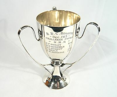 Antique 1913 STERLING Silver ROWING FOURS Trophy R.B.C. Riverside Boat Club Cup