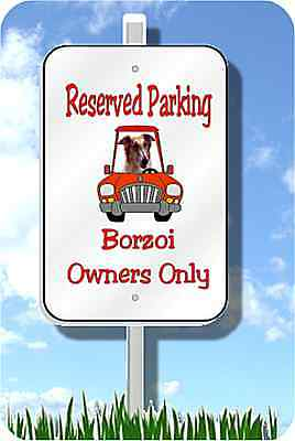Borzoi Russian Wolfhound parking sign metal garden