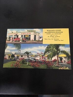 Wallace Court Sinclair Service Station Gas & Oil Ft Meyers FL  Postcard