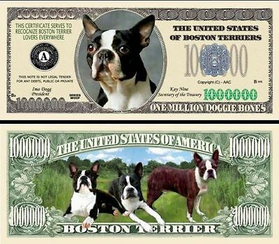 Boston Terrier Version 1 Dog Collector Novelty Bill/money Single With Holder!