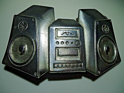 Vintage Old school Classic Home Stereo Speaker System Silver Tone Belt Buckle