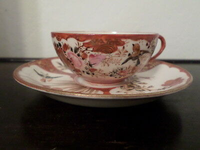 Antique Japanese Kutani  Porcelain Cup & Saucer Signed