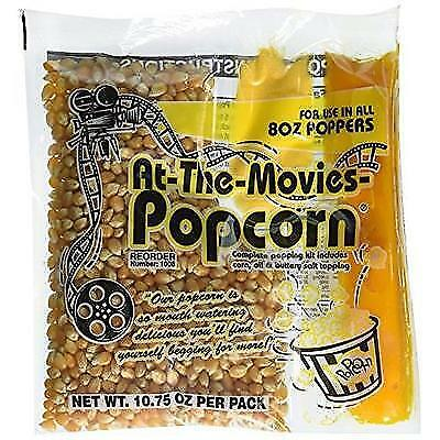 At-The-Movies Popcorn & Coconut Oil Portion Packs-Case of 24 (8oz Kettle) New