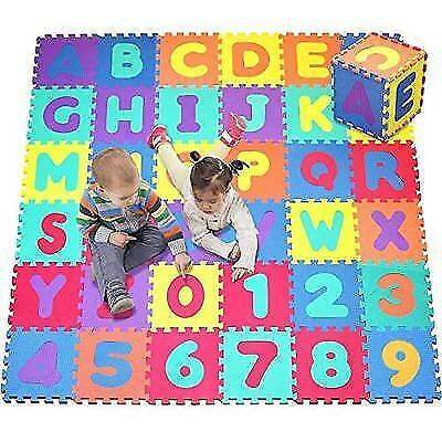 Click N' Play, Alphabet and Numbers Foam Puzzle Play Mat, 36 Tiles (Each Tile