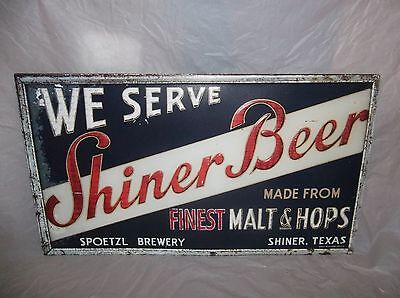 Shiner Texas Beer Sign Tin Embossed Large 26 Inches