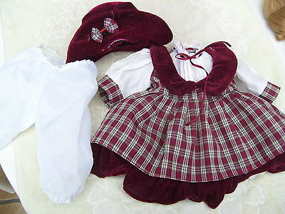 Alte Puppenkleidung Red White Dress Hat Outfit vintage Doll clothes 40 cm Girl