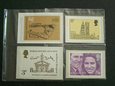 PHQ Mint 1973 Year Set 4 sets of Royal Mail Postcards