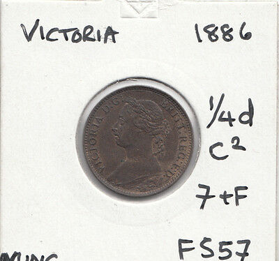 """1886 Vic Farthing """"nunc"""" Lustre S3958  F557 Dies 7+F Agem Of A Coin"""