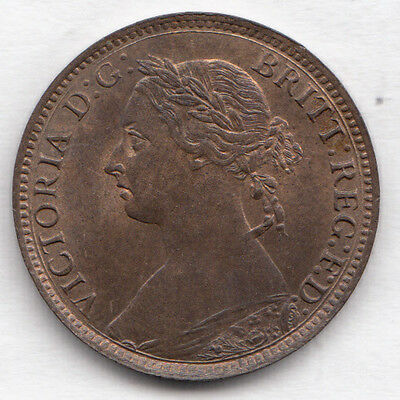 """1893 Vic Farthing """"unc"""" Gem S3958  F568 Rare Dies 7+F Lovely Coin"""