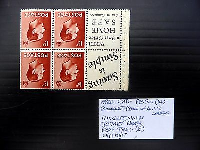 GB 1936 Ed.VIII - 1½d Booklet Pane As Described U/M FP9433