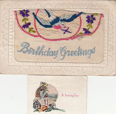 Ww1 Embroidered Silk Postcard Envelope Style With Insert
