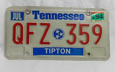 Vtg Tennessee Early 1990s License Plate Tag State Flag Symbol QFZ 359  #4091
