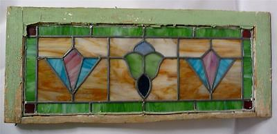 Antique Stained Glass Transom Panel - Geometric Pattern - Wooden Frame