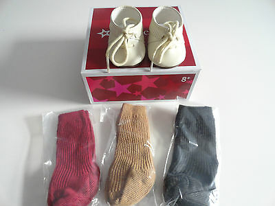 American Girl Josefina  Shoes And Socks Beige Moccasins New In Box Retired