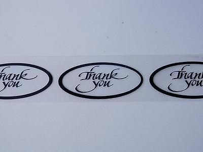 THANK YOU 1x2 oval Sticker Label black border and text on a clear bkgd 250/rl
