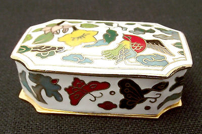 Vintage Cloisonne Style Rectangle Trinket/Pill Box-Hummingbird Flowers Butterfly