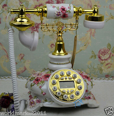 European Archaized Bluescreen Hands-Free Resin+Metal Collectable Dial Telephone