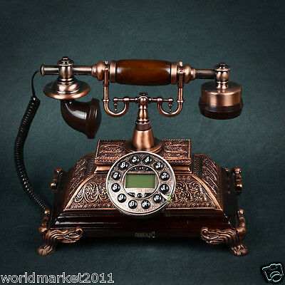 New European Style High Grade Bronze Creative Antique Ancient Dial Telephone