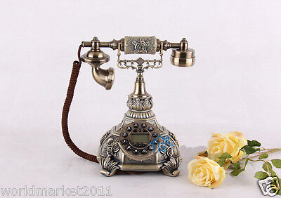 European Archaized Hands-Free Resin+Metal Bronze Rose Pattern Dial Telephone