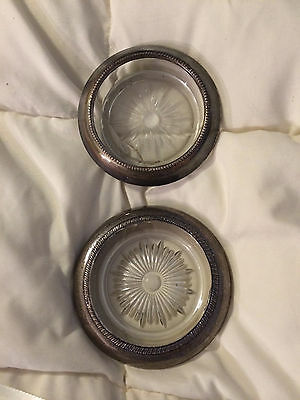 Vintage Sterling Silver Metal Trim & Glass Coasters Lot Set Frank Whiting Laben