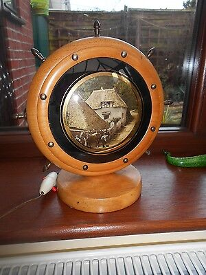 Vintage Wooden Ship Wheel Lamp With An Inset Victorian Photograph