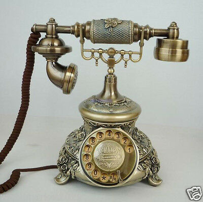 European Antique Reproduction Resin + Metal Bronze Rotary Dialer Telephone
