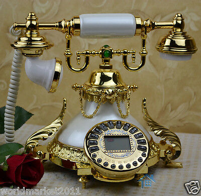 European Archaized Backlight Hands-Free Jade + Metal White + Gold Dial Telephone