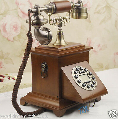 European Archaized Bluescreen Hands-Free Solid Wood + Zinc Alloy Dial Telephone