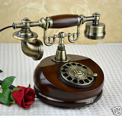 European Antique Reproduction Solid Wood + Metal Rotary Dialer Telephone