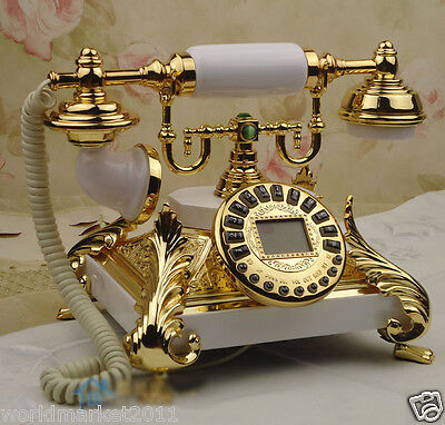 European Archaized Multi-Function Solid Wood+Metal White+Gold Dial Telephone