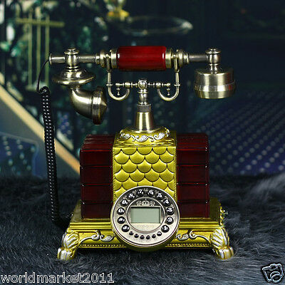 European Style High Grade Resin Mahogany Color Antique Ancient Dial Telephone