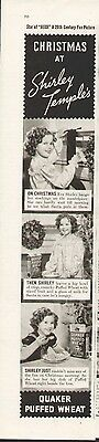 Shirley Temple on a 1937 ad for Quaker Puffed Wheat