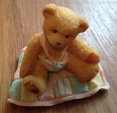"1997 Cherished Teddies 599352 ""A Gift To Behold"" Baby Girl On Quilt Figurine"
