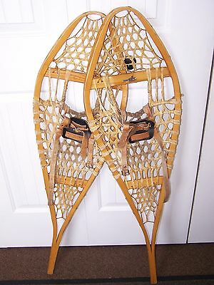 "Vintage leather bindings WOODEN Snowshoes MADE IN QUEBEC Usable/Decor 42"" x 12"""