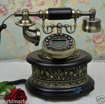 European Archaized Multi-Function Imported Oak+Metal Black Collectable Telephone