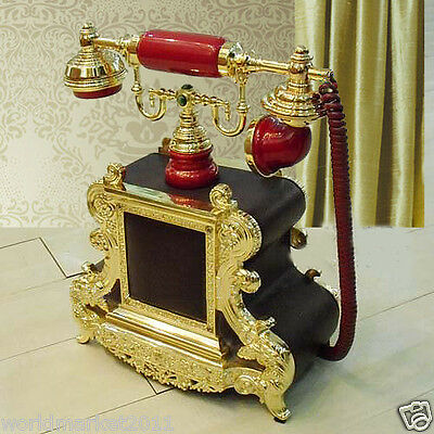 !!New European Style Red-brown High-end Business Antique Telephone