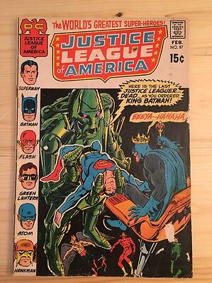 "1971 DC Comics #87 JUSTICE LEAGUE of AMERICA ""Batman King Of The World"""