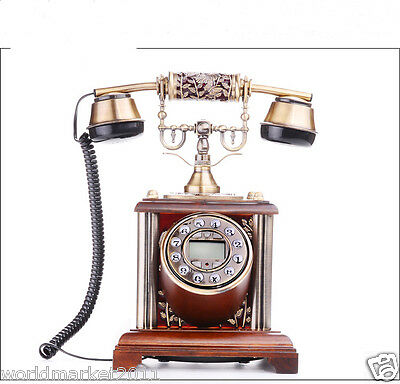 High Grade European Style Solid Wood Drip Process Antique Ancient Dial Telephone