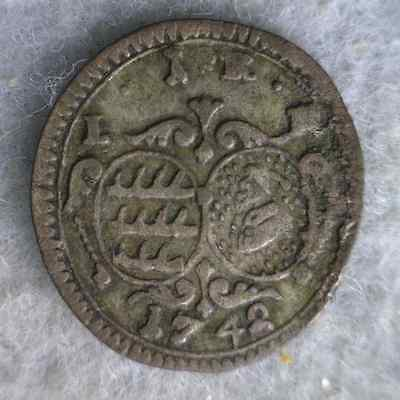 GERMAN STATES WURTTEMBERG KREUZER 1742 VF GERMANY SILVER COIN ( stock# 0338)